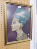 "A PICTORIAL NEEDLEWORK TAPESTRY, HEAD OF AN ANCIENT EGYPTIAN RULER, 18"" X 12 1/2"" (FRAMED)"