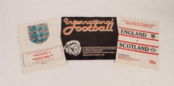 THREE ENGLAND UNDER 21s PROGRAMMES, v Scotland at Bramhall Lane 1977, v Yugoslavia Maine Road