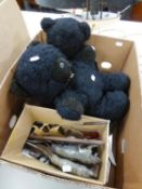 REAL SOFT TOYS, MODERN BLACK TEDDY BEAR, PAIR OF CARVED BONE ORNAMENTS IN THE FORM OF PROWLING