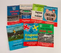 SEVEN ENGLAND HOME PROGRAMMES, v Spain 1967, v Scotland 1967, v Northern Ireland 1967, v USSR