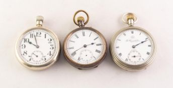 *THOMAS RUSSELL & SONS, LIVERPOOL, 'PREMIER' OPEN FACED POCKET WATCH with keyless 7 jewels