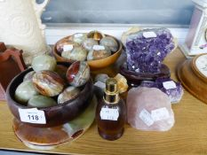A LARGE AMMONITE FOSSIL, 6? WIDE; A SPECIMEN OF AMETHYST QUARTZ, ON OVAL STAND; TEN GREEN/BROWN ONYX