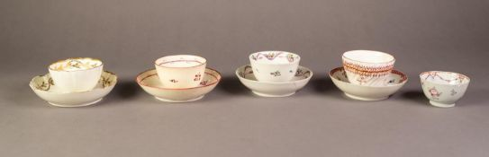 COLLECTION OF LATE EIGHTEENTH CENTURY ENGLISH PORCELAIN TEA BOWLS AND SAUCERS, including a puce