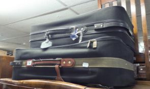 TWO MODERN CANVAS SUITCASES