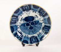 LATE EIGHTEENTH CENTURY BLUE AND WHITE DUTCH DELFT POTTERY WAAIERBORD OR PEACOCK PLATE, of dished