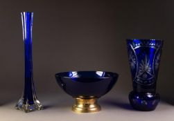 THREE PIECES OF TWENTIETH CENTURY BLUE GLASS, comprising: a FLASH CUT THISTLE SHAPED VASE, 11 ¼? (