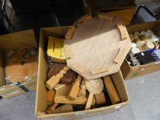 A QUANTITY OF KILN DRIED WOOD, TURNED WOOD AND TURNED WOOD LEGS, ETC.