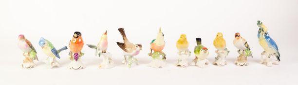 ELEVEN MODERN GERMAN PORCELAIN BIRD ORNAMENTS (11)