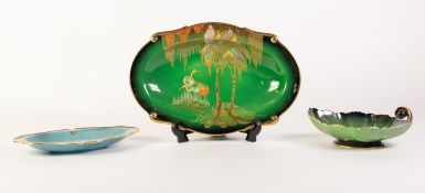 CARLTON WARE NEW STORK PATTERN ?VERT ROYALE? POTTERY DISH, of shallow, oval form with shaped rim,
