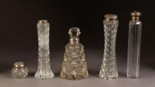 FIVE PIECES OF VICTORIAN AND LATER SILVER MOUNTED CUT GLASS, comprising: TALL FACET CUT TOILET JAR