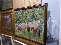J. BRINDLE (TWENTIETH CENTURY) OIL PAINTING ON CANVAS FIGURES AND HORSES BEFORE FARM BUILDINGS