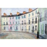 KATHARINE DOVE (MODERN) MIXED MEDIA ON CANVAS ?Chalcot Crescent? Initialled, signed and titled verso