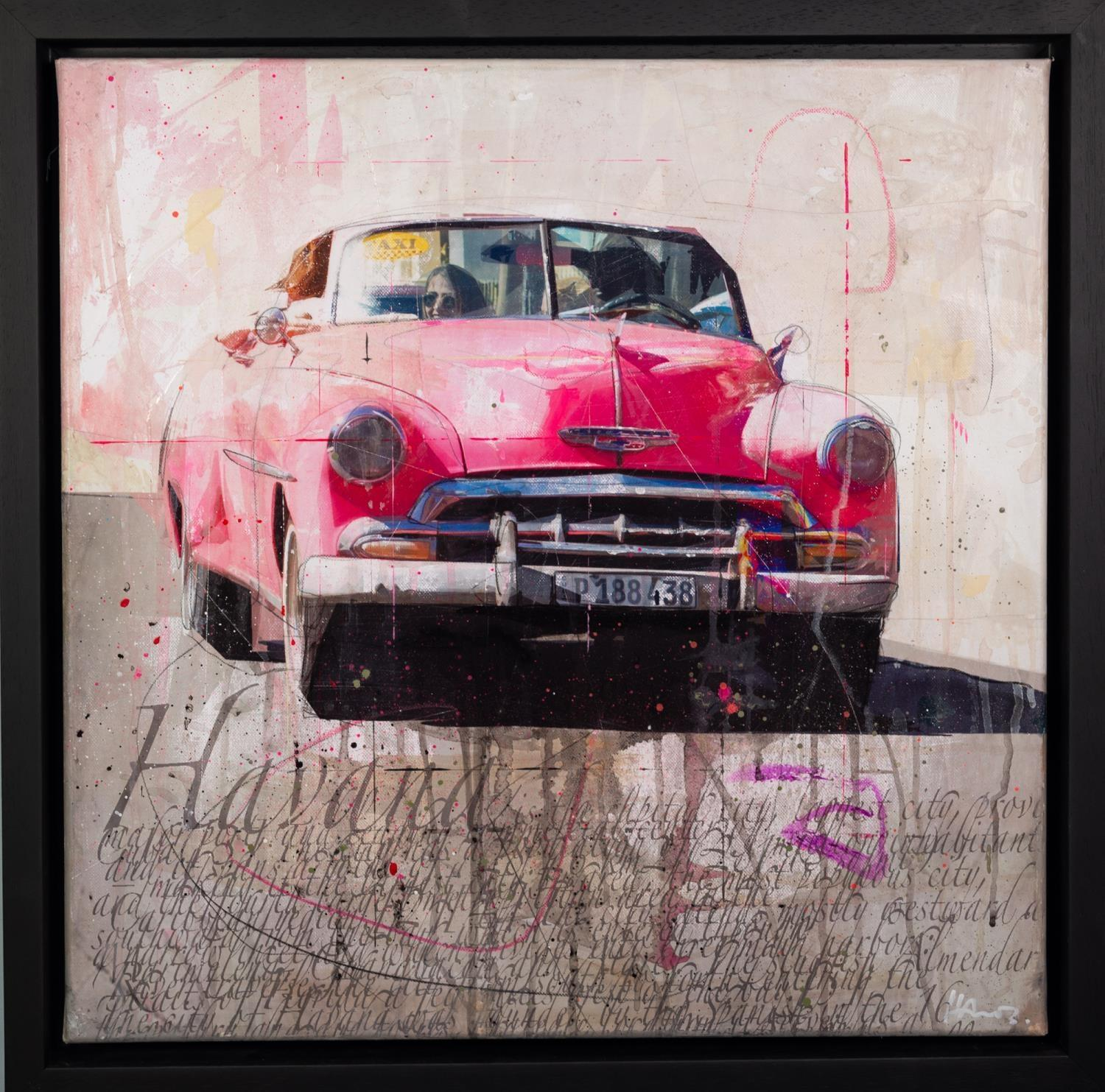 MARKUS HAUB (b.1972) MIXED MEDIA ON CANVAS ?Havana Taxi? Signed, titled to label verso 24? x 24? ( - Image 2 of 2