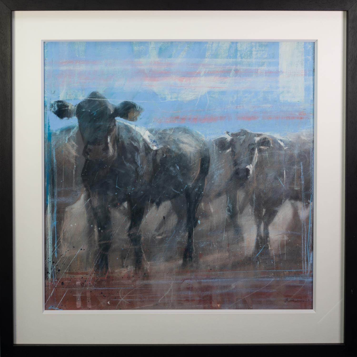 JAMES BARTHOLOMEW (b.1970) PASTEL ?Ranch Cows I? Signed, 34? x 34? (86.3cm x 86.3cm) C.R-image good, - Image 2 of 2