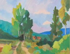 SUSAN BEAULAH (b.1943) ACRYLIC ON BOARD ?Country Lane, Tuscany? Signed and dated (19)93, titled to