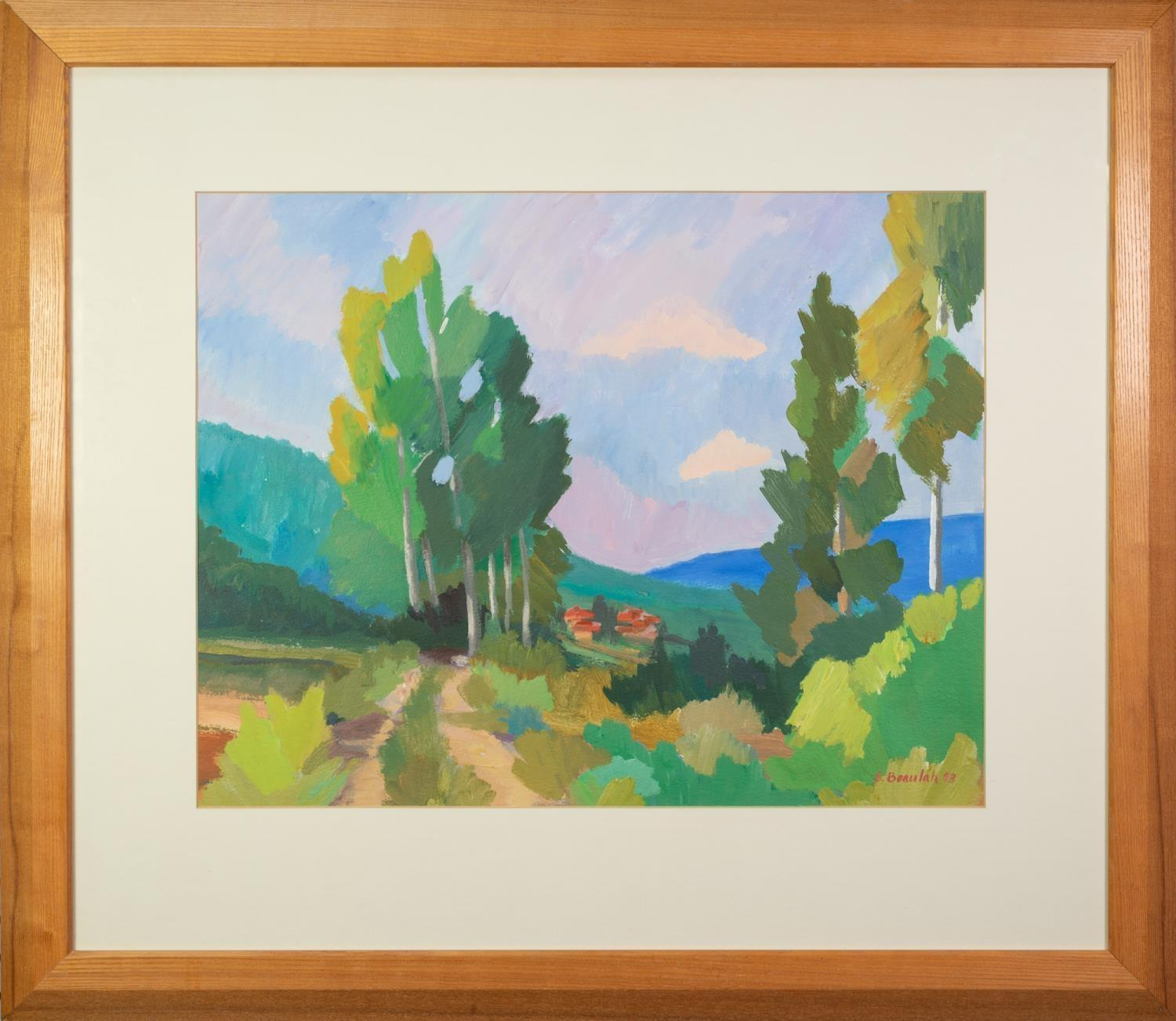 SUSAN BEAULAH (b.1943) ACRYLIC ON BOARD ?Country Lane, Tuscany? Signed and dated (19)93, titled to - Image 2 of 2