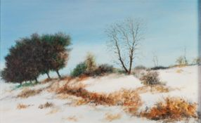 FRANCIS KELLY (TWENTIETH CENTURY) OIL ON BOARD ?November Snow? Signed, titled to label verso 9 ½?