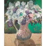 THOMAS DURKIN (1928-1990) OIL ON BOARD, heightened with pink pastel Still Life-jug of flowers Signed