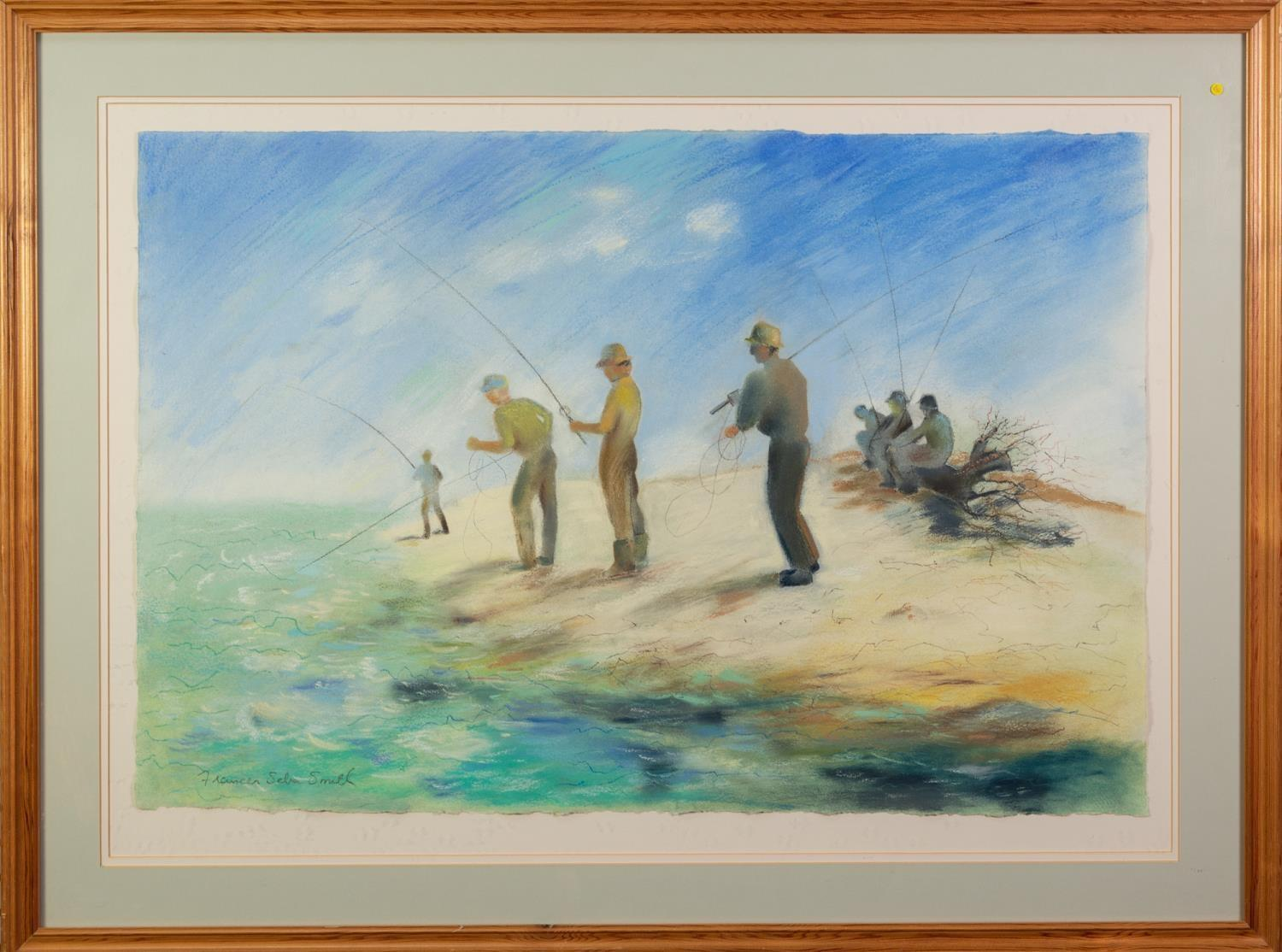 FRANCES SEBA SMITH (MODERN) PASTEL DRAWING Men fishing Signed 20? x 29? (50.8cm x 73.7cm) C/R-good - Image 2 of 2