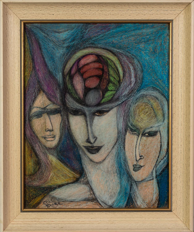 GOLDA ROSE (1921-2016) MIXED MEDIA ON BOARD ?Spirit of Aquarius? Signed, titled verso 12 ½? x - Image 2 of 2