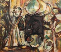 PETER OAKLEY (1935-2007) MIXED MEDIA ON PAPER ?Treasure of Zer? Signed and dated (20)01 16 ¼? x
