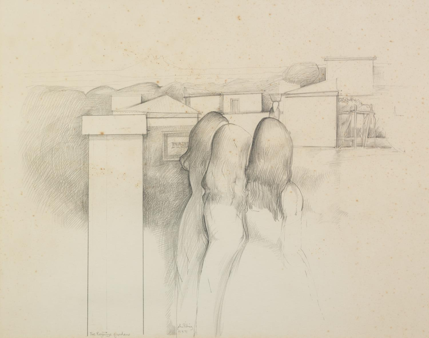 JOHN PICKING (b.1939) PENCIL DRAWING ?The Ragazzi Guardians? Signed, tilted and dated 12 X 71 13?
