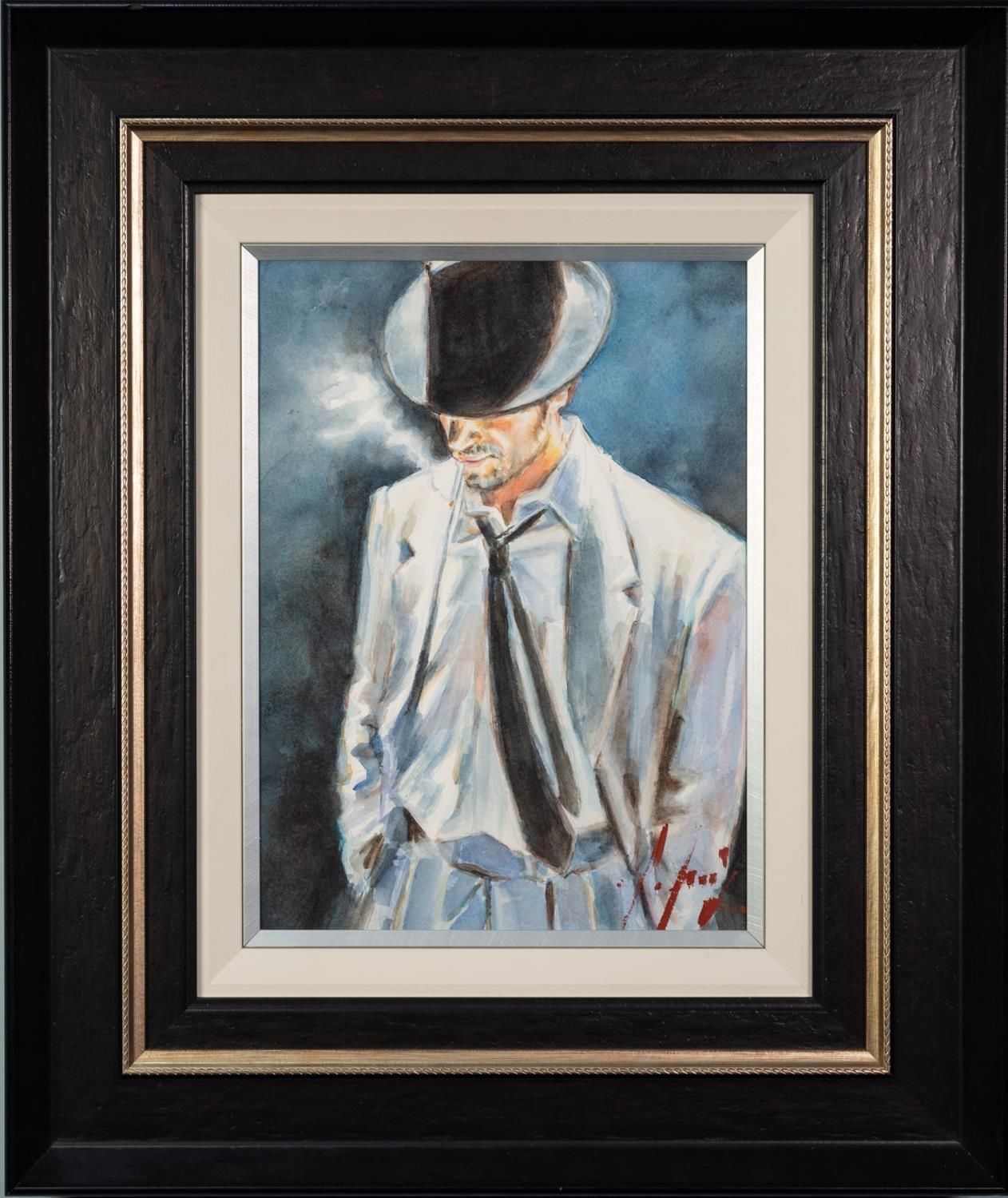 FABIAN PEREZ (b.1967) WATERCOLOUR ?Man in White Suit IV? Signed, titled to label verso 16? x 12? ( - Image 2 of 2