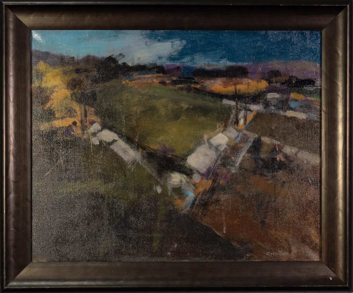GEOFF CHILTON (MODERN) OIL ON CANVAS ?Allotments in Winter? Signed, titled to label verso 15 ½? x 19 - Image 2 of 2