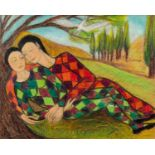 GOLDA ROSE (1921-2016) MIXED MEDIA ON BOARD Harlequin Lovers Unsigned 10 ½? x 13? (26.7cm x 33cm)