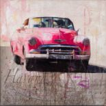 MARKUS HAUB (b.1972) MIXED MEDIA ON CANVAS ?Havana Taxi? Signed, titled to label verso 24? x 24? (