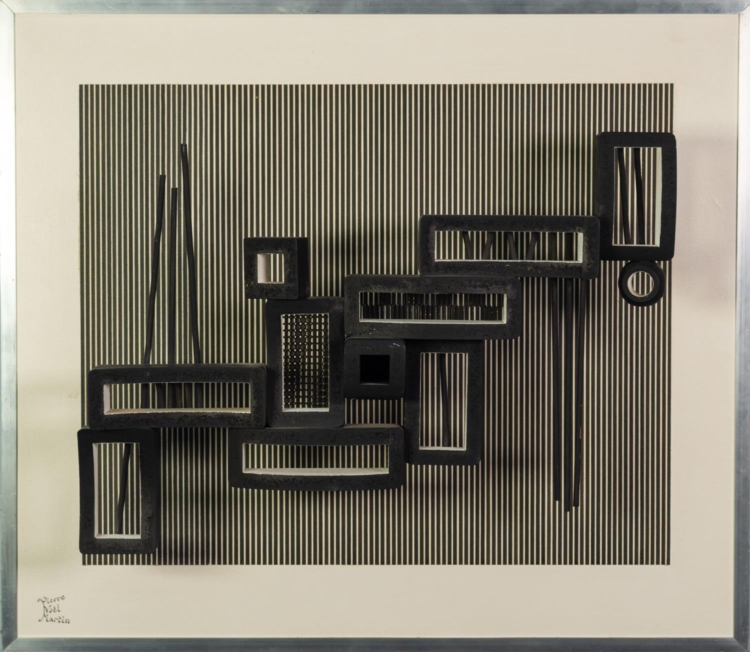 PIERRE NOEL MARTIN (1951-2006) MIXED MEDIA MOUNTED ON BOARD ?Vibra?, Abstract black and white - Image 2 of 3