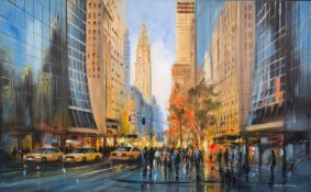 CSILLA ORBAN (b.1961) OIL ON CANVAS ?Autumn in New York II? Signed, titled to label verso 30? x