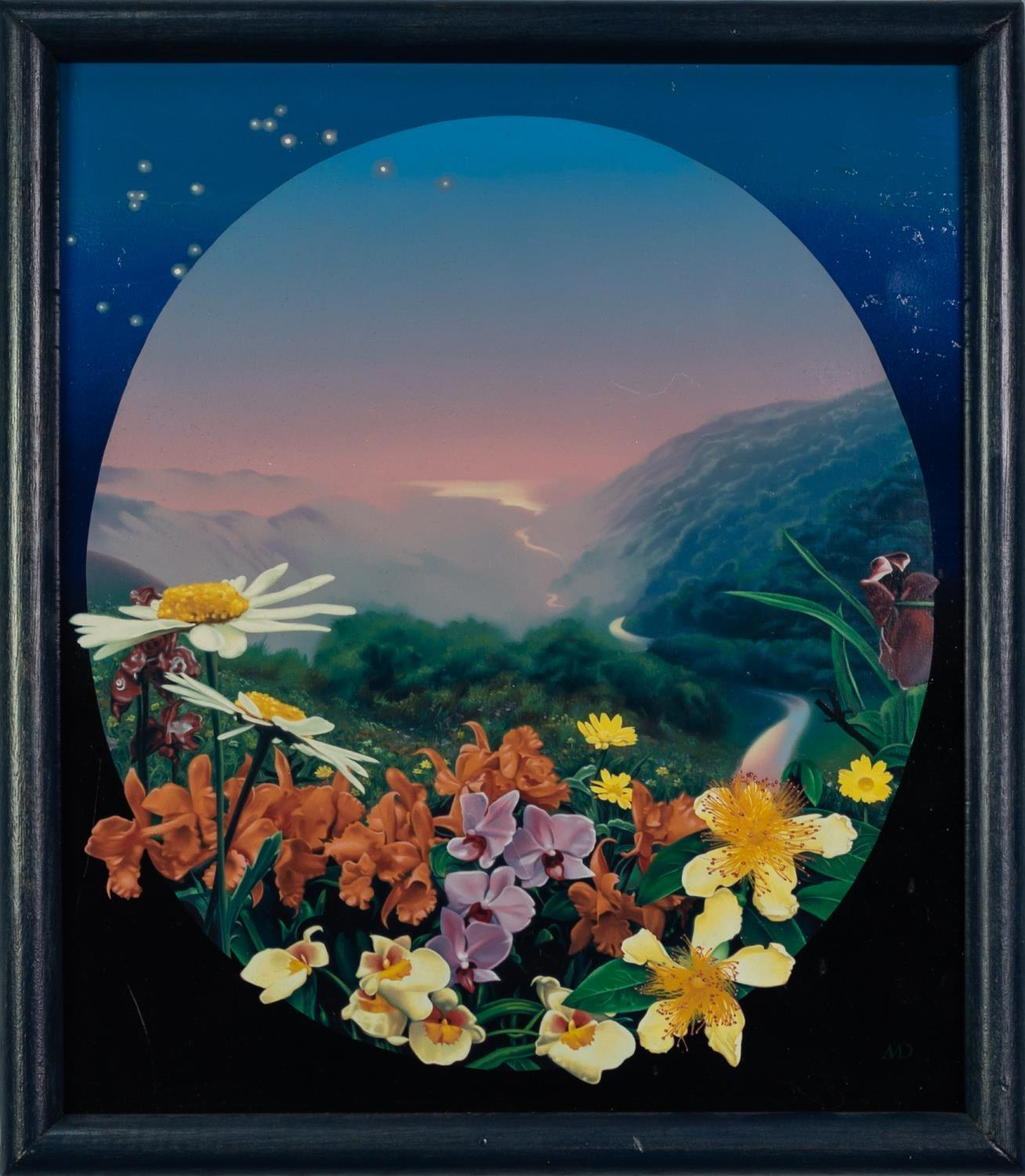 MALCOLM DICKSON (b.1941) OIL ON BOARD Landscape with flowers in the foreground Initialled, signed - Image 2 of 2