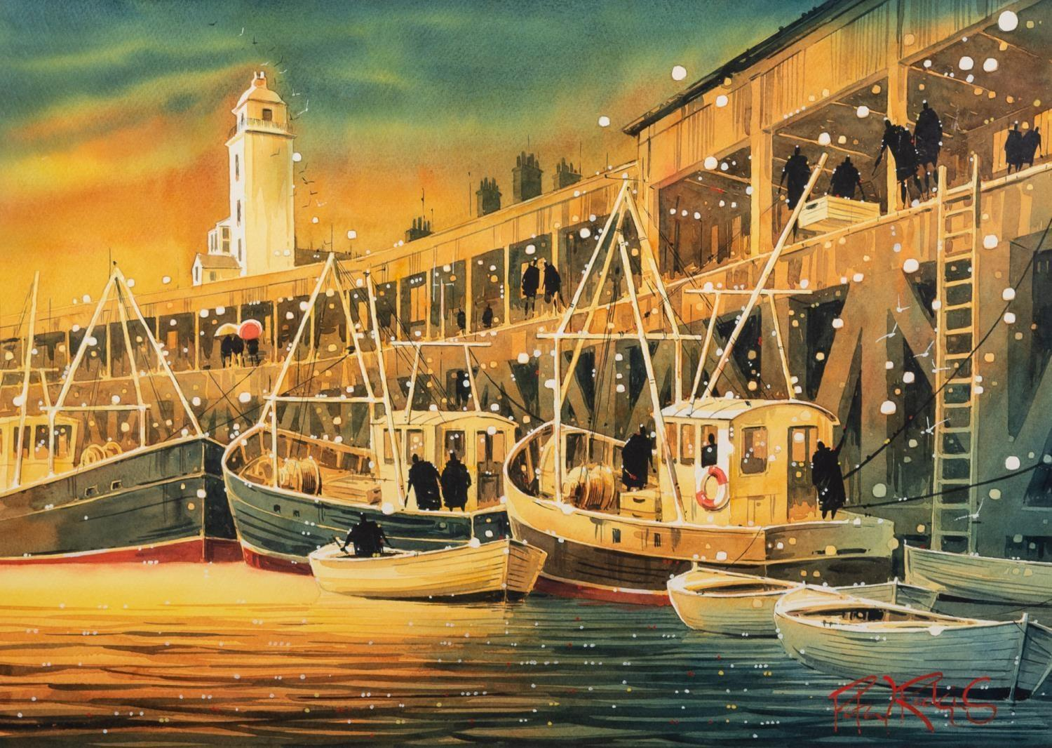 PETER J. RODGERS (MODERN) WATERCOLOUR ?Landing the Catch, Newcastle? Signed, titled to label verso