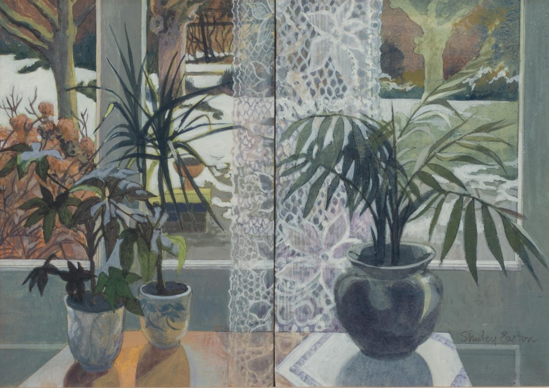 SHIRLEY EASTON (LATE TWENTIETH CENTURY) ACRYLIC ?Window Duet? Signed, titled to ?Royal Academy