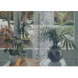 SHIRLEY EASTON (LATE TWENTIETH CENTURY) ACRYLIC ?Window Duet? Signed, titled to ?Royal Academy