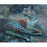 ROLF HARRIS (b.1930) ARTIST SIGNED LIMITED EDITION COLOUR PRINT ON CANVAS ?Leopard Reclining at