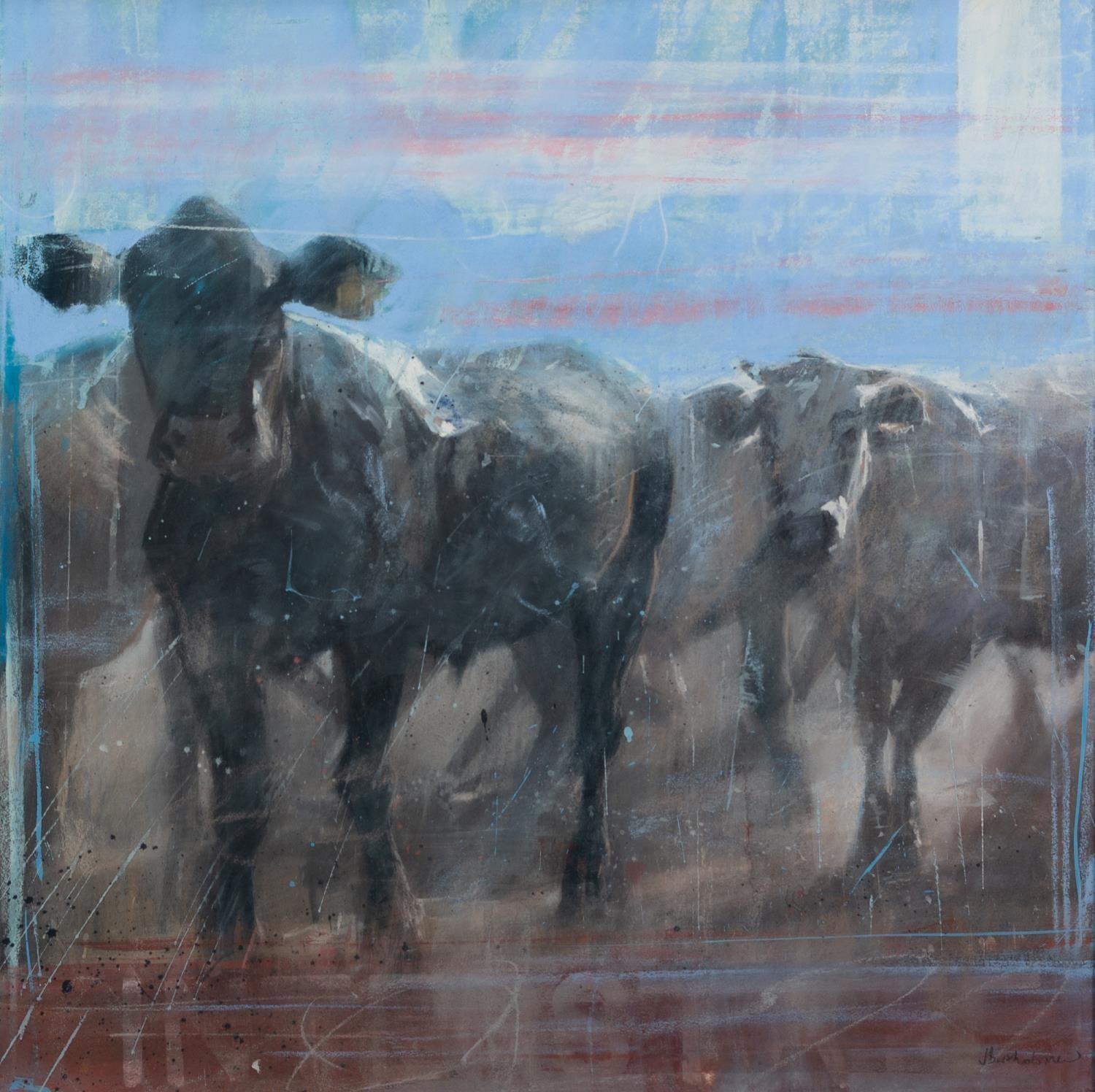 JAMES BARTHOLOMEW (b.1970) PASTEL ?Ranch Cows I? Signed, 34? x 34? (86.3cm x 86.3cm) C.R-image good,