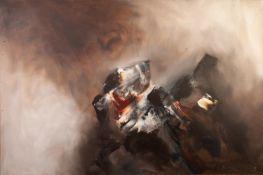 DAVID HURLEY (MODERN)OIL ON BOX CANVAS ?Faithfull Hound? Signed, titled verso 24? x 36? (61cm x 91.