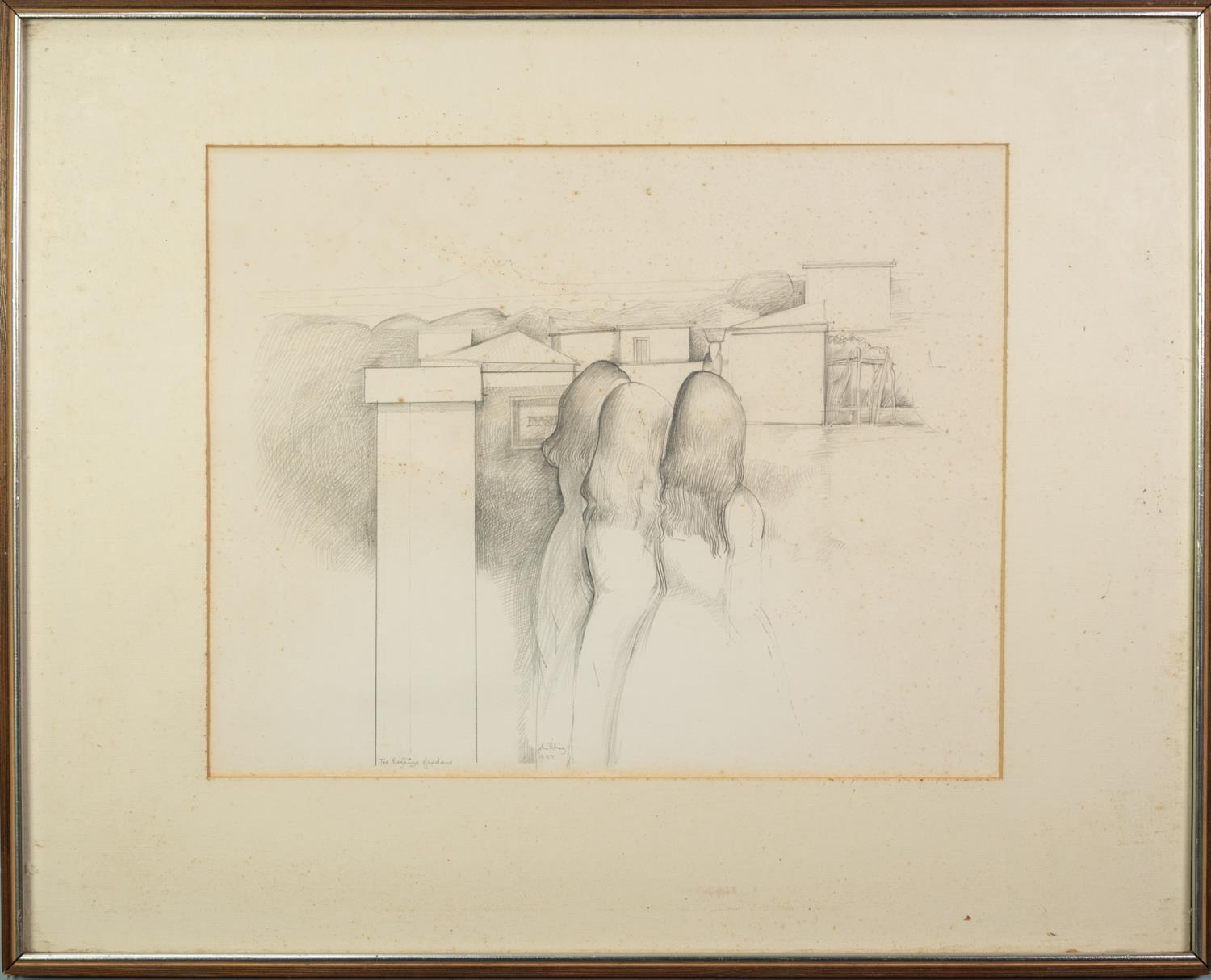 JOHN PICKING (b.1939) PENCIL DRAWING ?The Ragazzi Guardians? Signed, tilted and dated 12 X 71 13? - Image 2 of 2