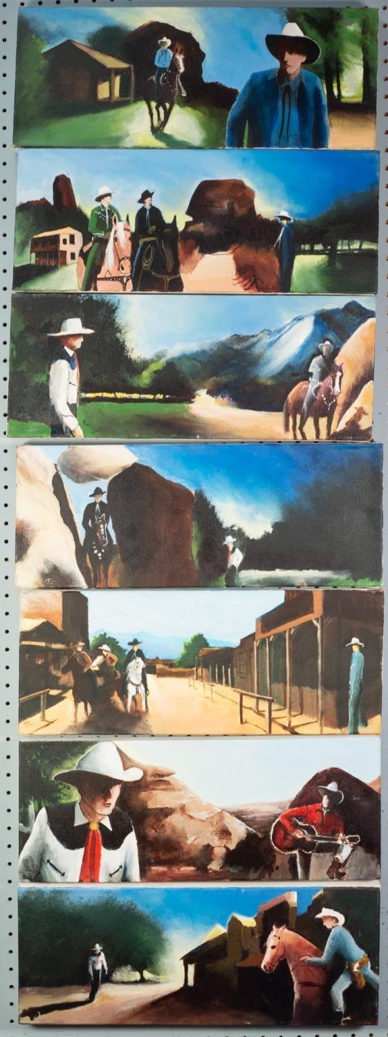 COLIN JELLICOE (1942-2018) SET OF SEVEN ACRYLICS ON CANVAS Californian ranch scenes with cowboys and