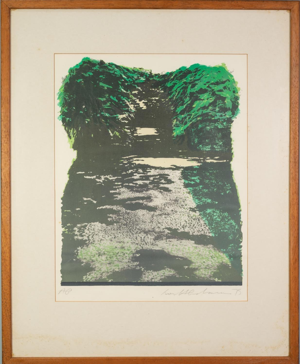 IVOR ABRAHAM (1935-2015) ARTIST SIGNED PROOF COLOURED LITHOGRAPH Tree lined avenue, dated (19)75 16? - Image 2 of 2
