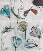 ANNIE RODRIGUE (MODERN) MIXED MEDIA ON CANVAS ?Bleu III? Signed, titled to label verso 20? x 16? (