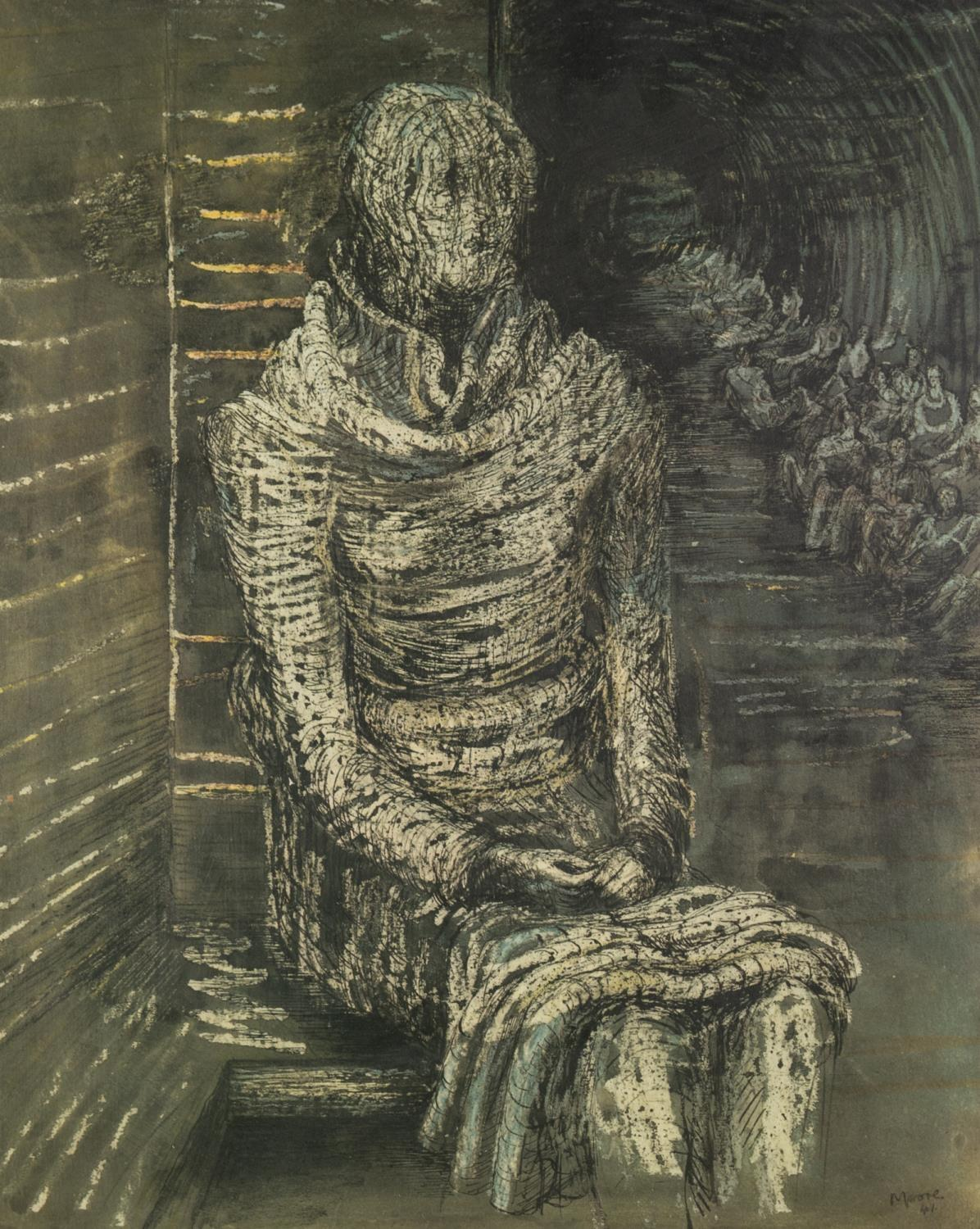 HENRY MOORE (1898-1986) ARTIST SIGNED LIMITED EDITION COLOUR PRINT Seated female figure, (25/100)