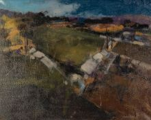 GEOFF CHILTON (MODERN) OIL ON CANVAS ?Allotments in Winter? Signed, titled to label verso 15 ½? x 19