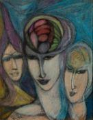 GOLDA ROSE (1921-2016) MIXED MEDIA ON BOARD ?Spirit of Aquarius? Signed, titled verso 12 ½? x