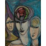 GOLDA ROSE (1921-2016) MIXED MEDIA ON BOARD ?Spirit of Aquarius? Signed, titled verso 12 ½? x
