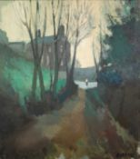THOMAS DURKIN (1928-1990)OIL ON BOARD Tree lined lane with figure and houses Signed 30? x 27? (76.