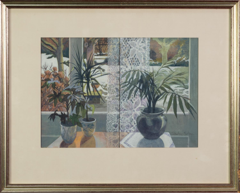 SHIRLEY EASTON (LATE TWENTIETH CENTURY) ACRYLIC ?Window Duet? Signed, titled to ?Royal Academy - Image 2 of 2