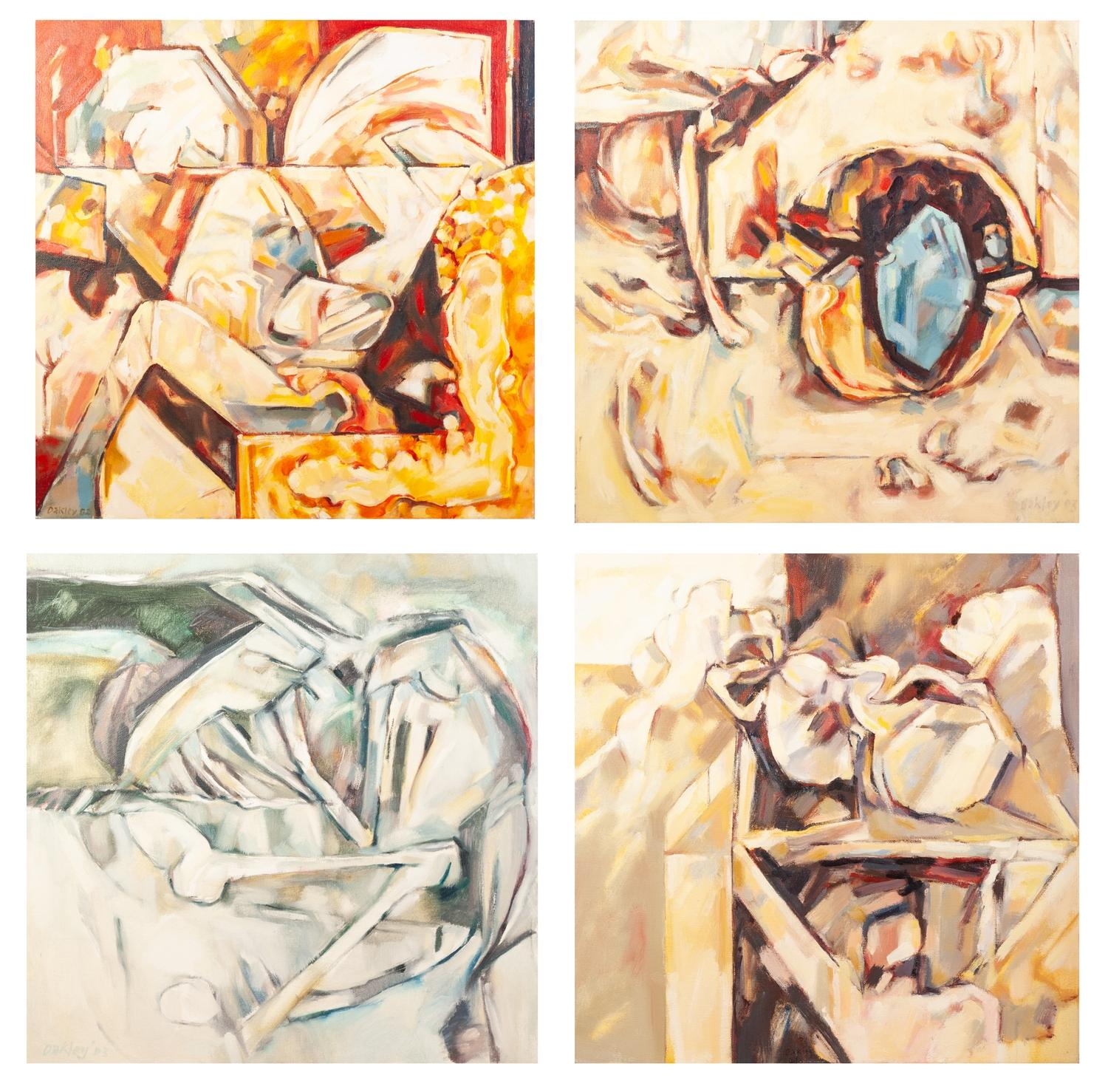 PETER OAKLEY (1935-2007) SET OF FOUR OILS ON CANVAS ?Burial? ?Burial Find? ?Tomb Treasure? ?Shelved?